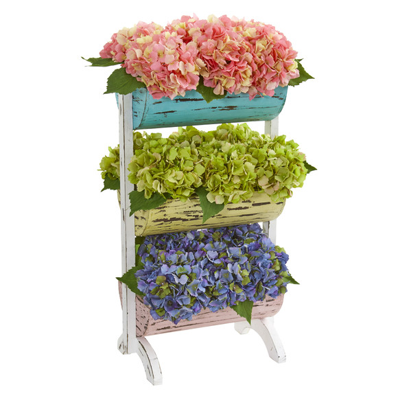 27 Hydrangea Garden Artificial Arrangement in Farmhouse Stand - SKU #8378