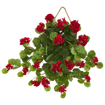 18 Geranium Artificial Plant in Decorative Hanging Frame - SKU #8379