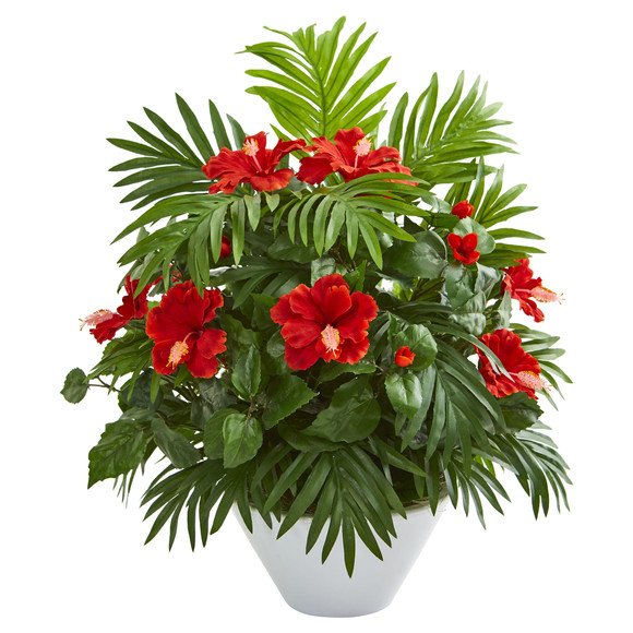 Hibiscus and Areca Palm Artificial Plant in White Bowl - SKU #8380