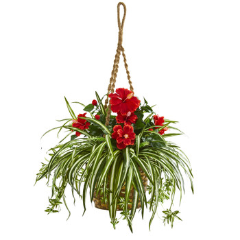 Hibiscus Spider Artificial Plant in Hanging Basket - SKU #8381