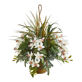 29 Cymbidium Orchid and Mixed Greens Artificial Plant Hanging Basket - SKU #8382