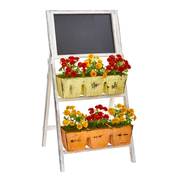 31 Japanese Artificial Plant in Farmhouse Stand and Chalkboard - SKU #8384