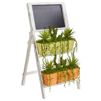 31 Succulent Garden Artificial Plant in Farmhouse Stand with Chalkboard - SKU #8385