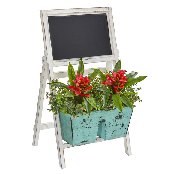 26 Bromeliad and Eucalyptus Artificial Plant in Farmhouse Stand with Chalkboard - SKU #8387