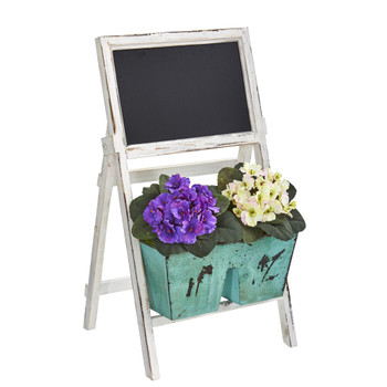 26 African Violet Artificial Plant in Farmhouse Stand with Chalkboard - SKU #8389