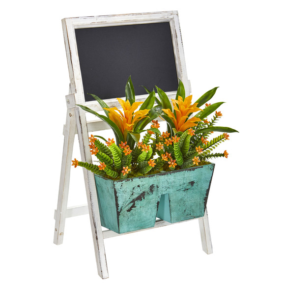 26 Bromeliad and Succulent Artificial Plant in Farmhouse Stand with Chalkboard - SKU #8390