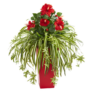 Hibiscus Spider Artificial Plant in Red Planter - SKU #8392