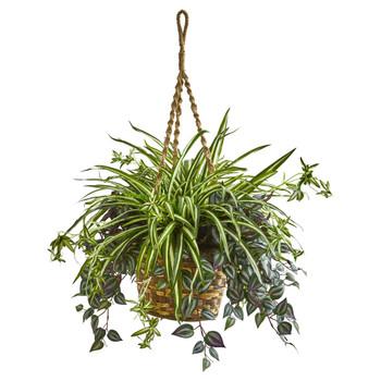30 Wandering Jew Spider Artificial Plant in Hanging Basket - SKU #8393
