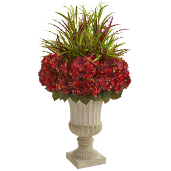 43 Hydrangea and Grass Artificial Plant in Stone Urn - SKU #8394