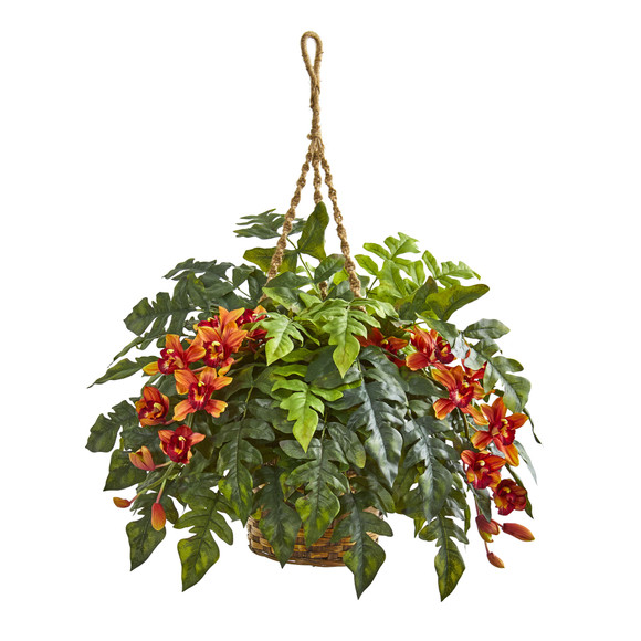 Cymbidium Orchid Fern Artificial Arrangement in Hanging Basket - SKU #8395 - 1