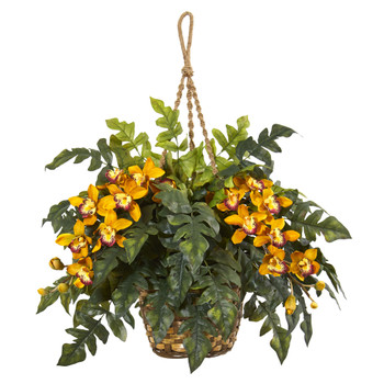 Cymbidium Orchid Fern Artificial Arrangement in Hanging Basket - SKU #8395