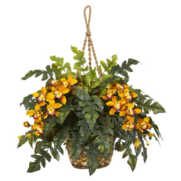 Cymbidium Orchid Fern Artificial Arrangement in Hanging Basket - SKU #8395