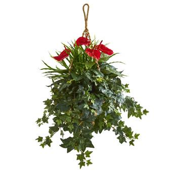 31 Mixed Anthurium Artificial Plant in Hanging Basket - SKU #8397