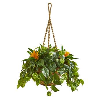 31 Bromeliad Pothos Artificial Plant in Hanging Basket - SKU #8398