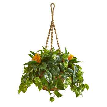 31 Bromeliad Pothos Artificial Plant in Hanging Basket - SKU #8398