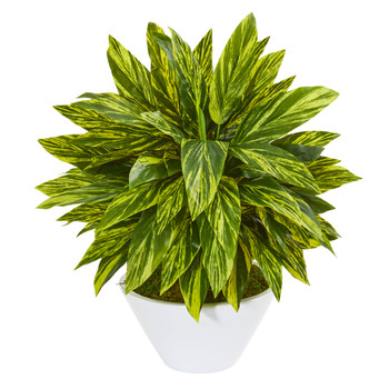 21 Tradescantia Artificial Plant in White Vase Real Touch - SKU #8399