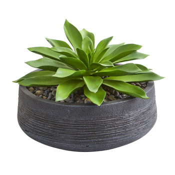 Large Succulent Artificial Plant in Decorative Bowl - SKU #8400