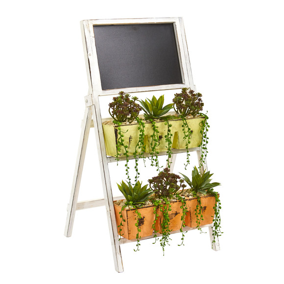 31 Mini Agave Succulent Artificial Plant in Farmhouse Stand with Chalkboard - SKU #8401