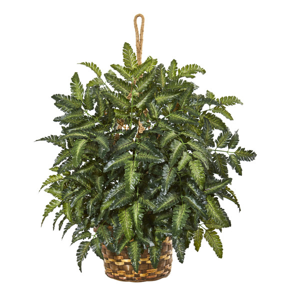 30 Bracken Fern Artificial Plant in Hanging Basket - SKU #8403