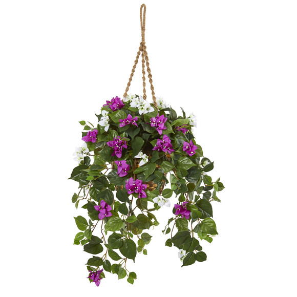 30 Mixed Bougainvillea Artificial Plant Hanging Basket - SKU #8405