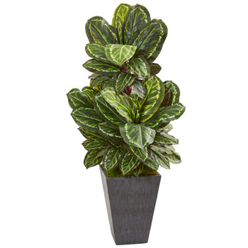 53 Maranta Artificial Plant in Slate Finished Planter - SKU #8407