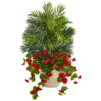 3.5 Geranium Areca Palm Artificial Plant - SKU #8410