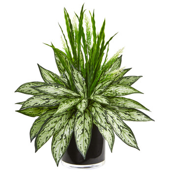 Silver Queen and Grass Artificial Plant in Black Vase - SKU #8418