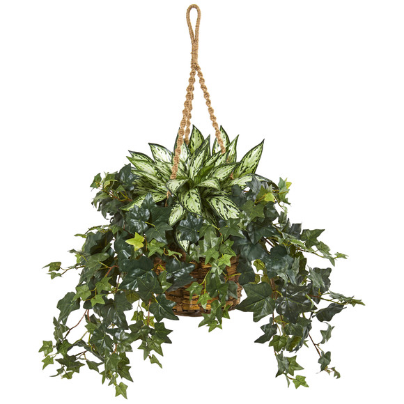 30 Silver Queen and Ivy Artificial Plant in Hanging Basket - SKU #8420