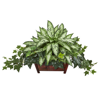 Silver Queen and Ivy Artificial Plant in Decorative Planter - SKU #8421