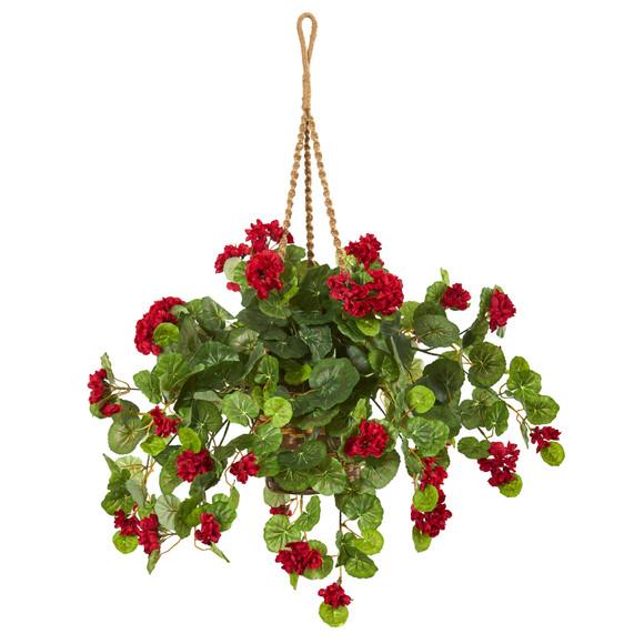 27 Geranium Artificial Plant in Hanging Basket - SKU #8424