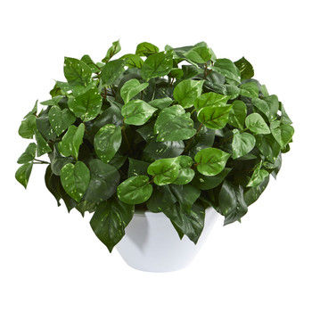 Pothos Artificial Plant in White Vase - SKU #8425