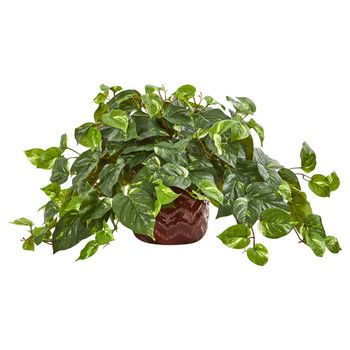 Pothos Artificial Plant in Design Red Vase - SKU #8426