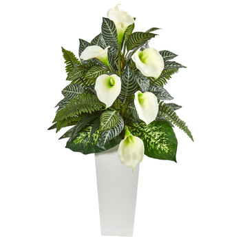 3 Calla Lily and Mixed Greens Artificial Plant in White Vase - SKU #8429