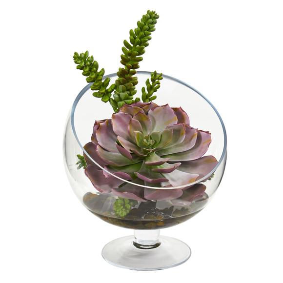 Succulent Artificial Plant in Pedestal Vase - SKU #8455