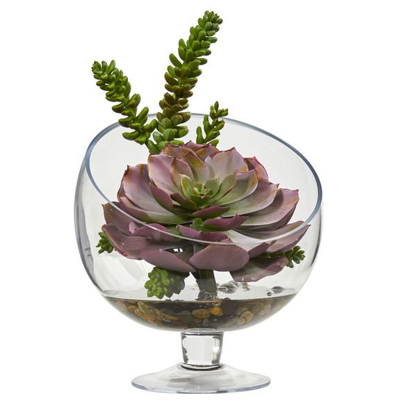 Succulent Artificial Plant in Pedestal Vase - SKU #8455 - 1
