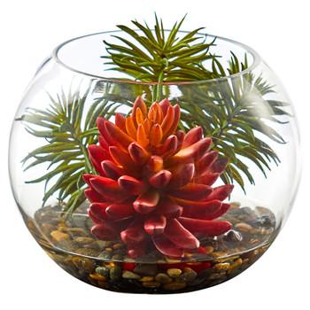 Succulent Artificial Plant in Round Vase - SKU #8457