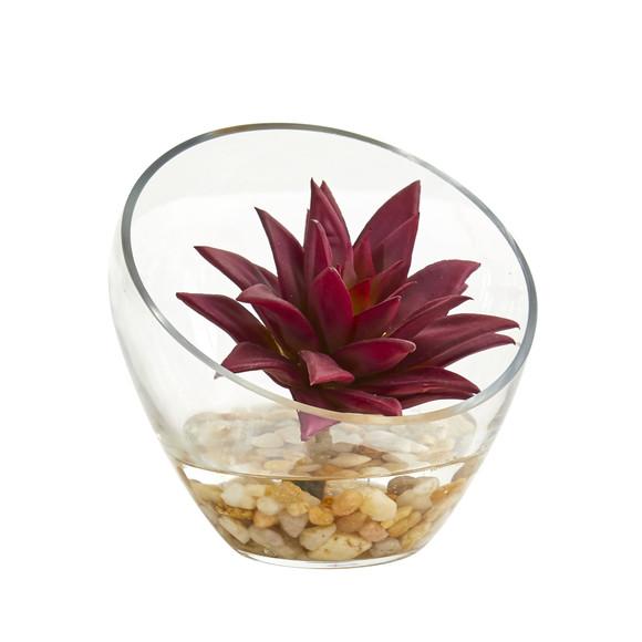 6 Succulent Artificial Plant in Glass Vase Set of 2 - SKU #8462-S2 - 2