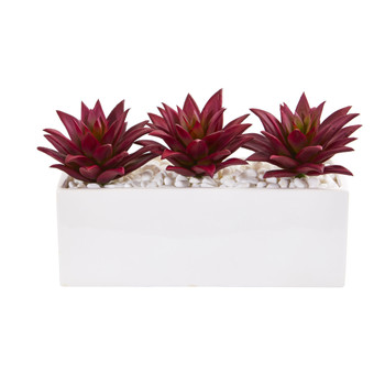 8 Triple Agave Succulent Artificial Plant in White Vase - SKU #8472