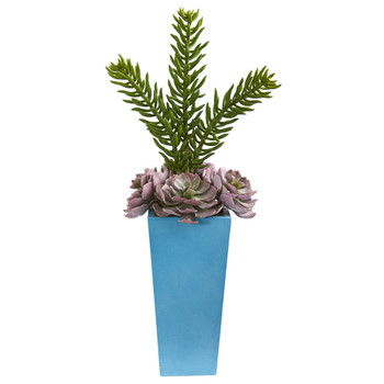 33 Echeveria and Spiky Succulent Artificial Plant in Blue Planter - SKU #8482