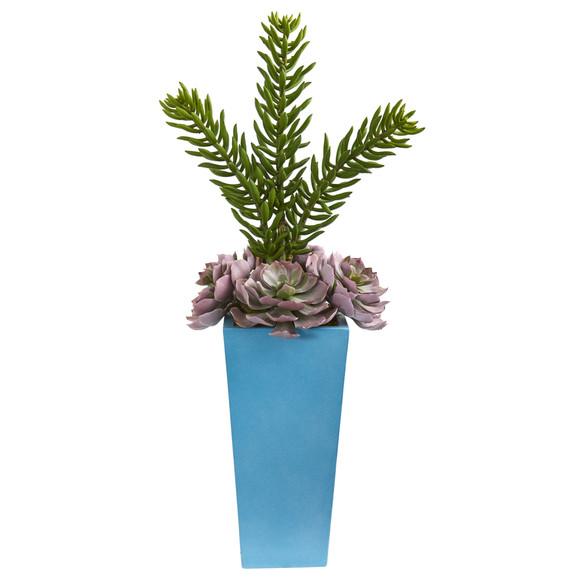 33 Echeveria and Spiky Succulent Artificial Plant in Blue Planter - SKU #8482