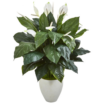 49 Elegant Spathifyllum Artificial Plant in White Planter - SKU #8494