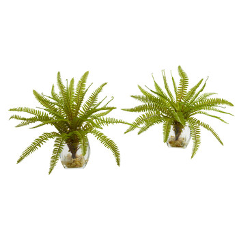 8 Fern Artificial Plant in Vase Set of 2 - SKU #8499-S2
