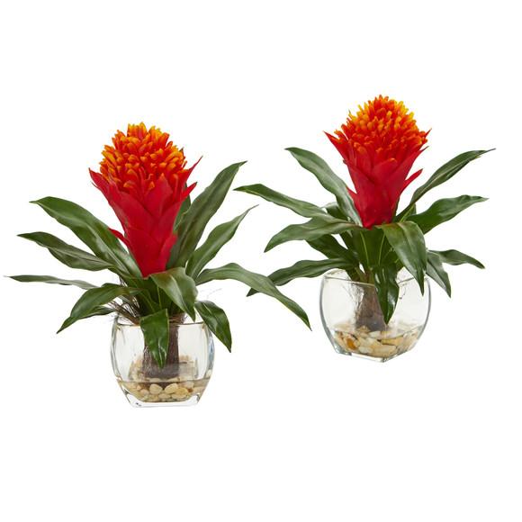 Bromeliad Artificial Plant in Vase Set of 2 - SKU #8500-S2
