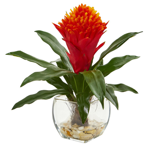 Bromeliad Artificial Plant in Vase Set of 2 - SKU #8500-S2 - 1