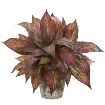 Musa Leaf Artificial Plant in Weathered Oak Planter - SKU #8506-GB