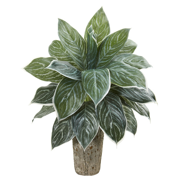 Aglonema Artificial Plant in Weathered Oak Vase Real Touch - SKU #8507