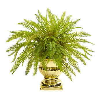 20 Fern Artificial Plant in Gold Urn - SKU #8509