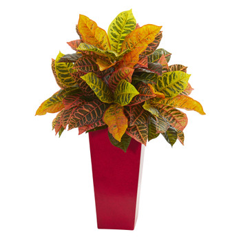 27 Croton Artificial Plant in White Tower Planter Real Touch - SKU #8510