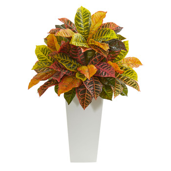 27 Croton Artificial Plant in White Tower Planter Real Touch - SKU #8510-WH