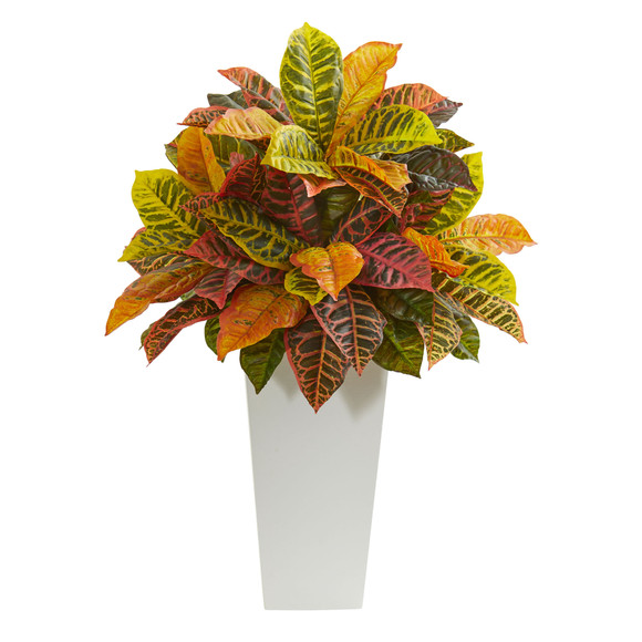 27 Croton Artificial Plant in White Tower Planter Real Touch - SKU #8510 - 1